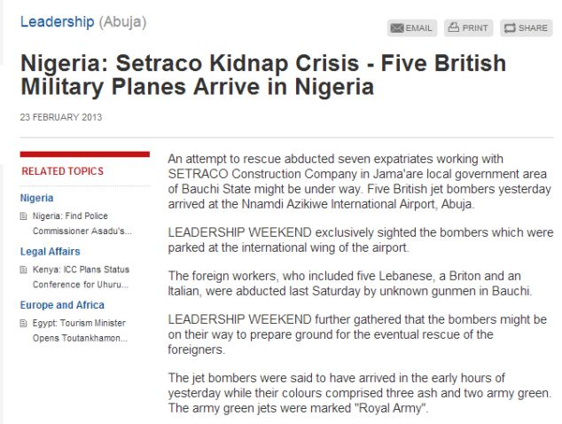 Local media: A report, published by Leadership Weekend, claimed that five British 'jet bombers' were spotted at Nnamdi Azikiwe International Airport in Abuja