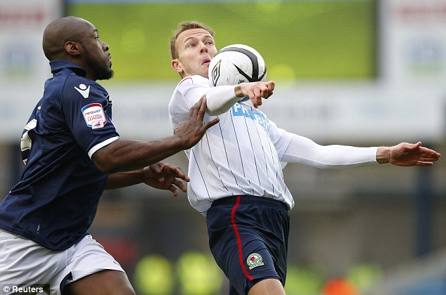 No separating: Millwall and Blackburn will play again at Ewood Park on Wednesday after their goalless draw