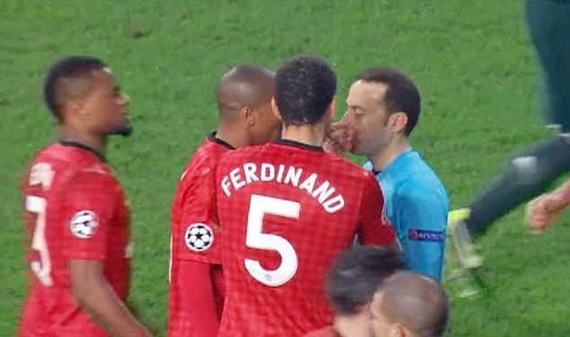 Idiotic: Ferdinand sarcastically clapped in Cuneyt Cakir's face on Tuesday