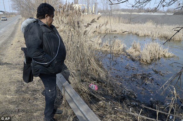 Solemn viewing: Carol Trimble, a family member of the victims, views the pond along Pine Avenue S.E. in Warren, Ohio where the six teens were killed in the crash, Sunday, March 10, 2013