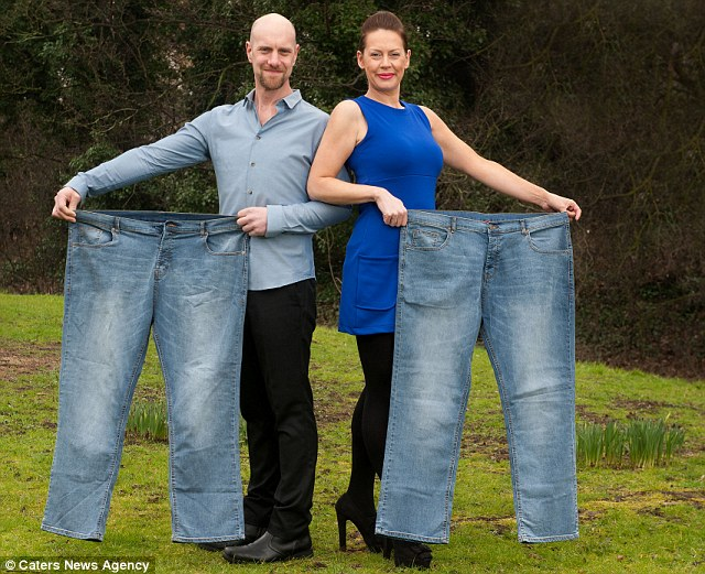 Thanks to making some simple changes to their diet and regular routines on the Wii Fit and dance games, the couple have lost over 7 stone each - but Michelle has lost 3lbs more