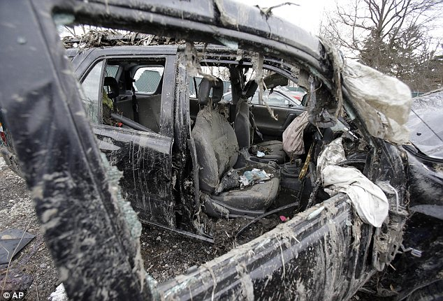 What remains: Both airbags were deployed in the crash, but it did little to help the teens, who were not wearing seatbelts