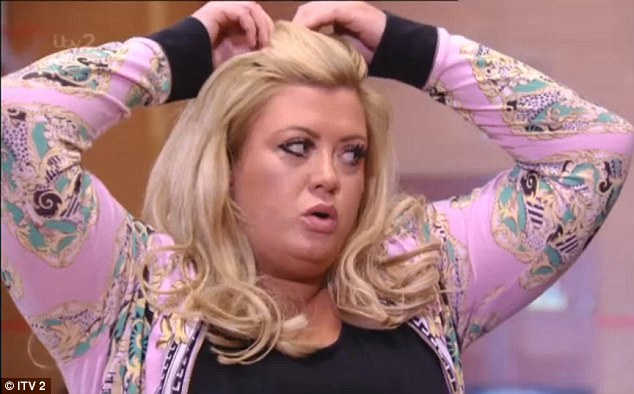 Feeling the strain: Gemma Collins found her trampolining exercise session very tiring