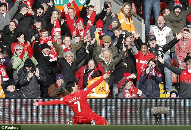 Too good: Liverpool fans go wild after Suarez's strike set them on the way to victory