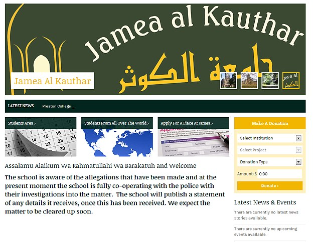 Website: The school's website carried a statement on the ongoing incident today but would not comment further