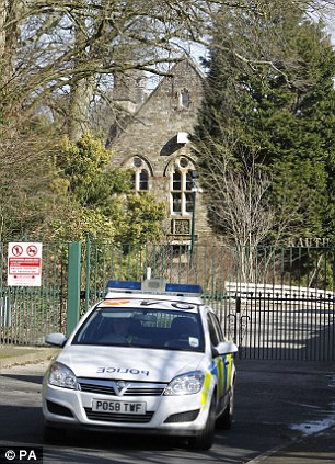 Incident: Police outside the Jamea al Kauthar school in Lancaster, where specialist female police officers are conducting searches, following the arrests of three men over claims of sexual assault