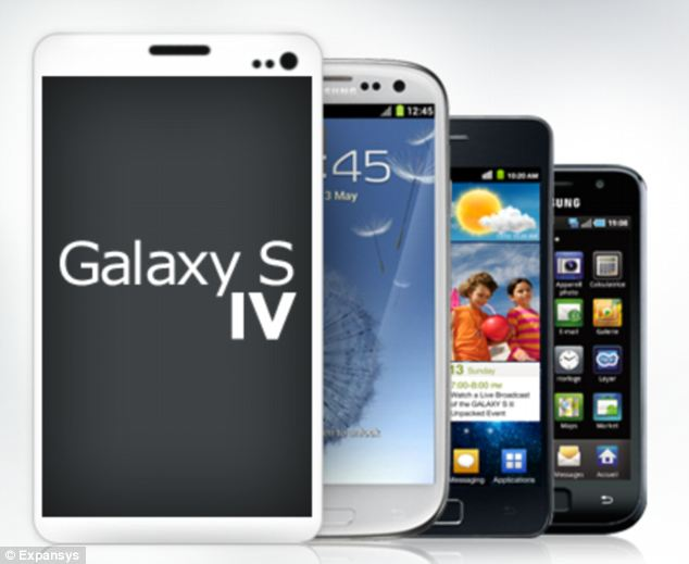 The Samsung Galaxy S IV is set to be revealed in New York on March 14th: This mock-up graphic based on rumoured specs by mobile retailer Expansys shows how it would compare to previous Galaxies
