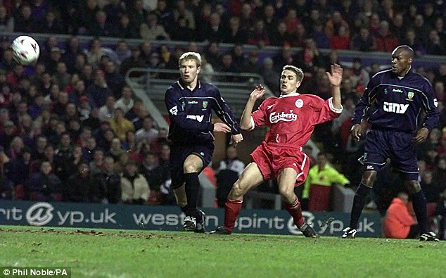 Young star: Michael Owen scored 18 goals in a season as a teenager twice for Liverpool
