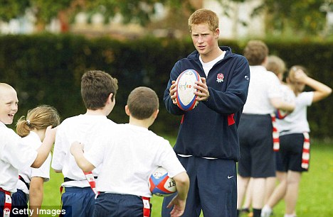 Harry coaches rugby at Greenfield Primary School: The princes might be attracted to the Six Nations climax