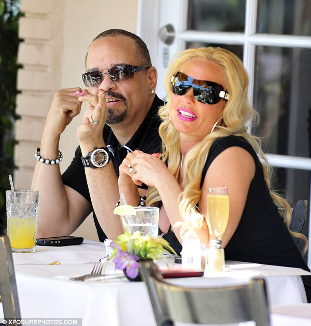 Dining a deux: Coco flashed her pink lipstick smile while Ice-T grinned during their meal at Cravings restaurant in West Hollywood