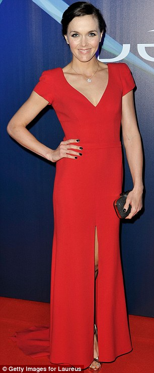 Race for attention: Cyclist Victoria Pendleton rivalled Eva in a red gown