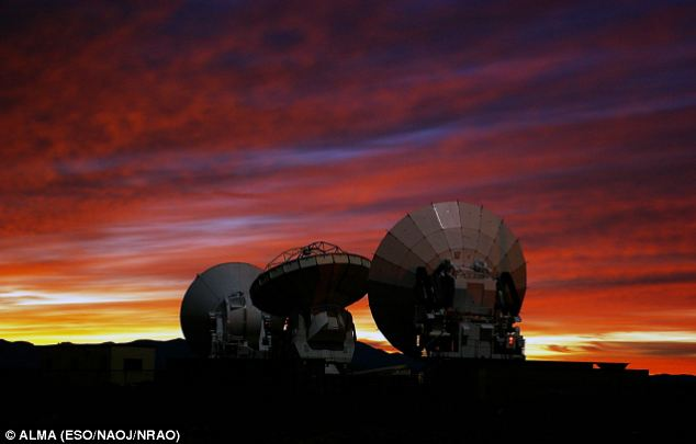 Under test: A spectacular sunset view of three prototypes of ALMA antennas, developed by Japan, North America and Europe, respectively, at the ALMA Test Facility (ATF) in Socorro, New Mexico, USA