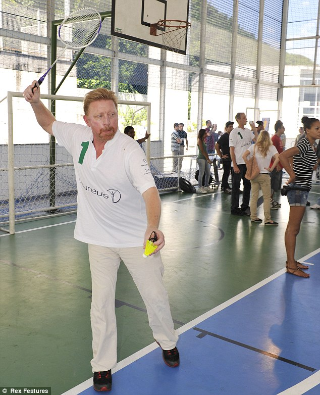 What an ace! Boris Becker was seen playing badminton earlier in the day in an event leading up to the awards