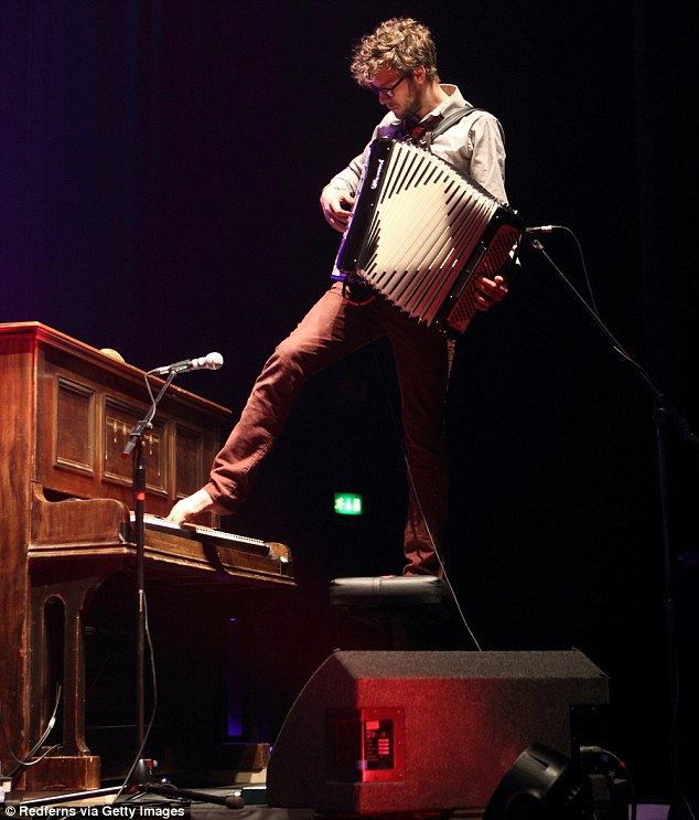 Manic musical imp: If he wasn't playing the accordion and piano at once (and with his toes), Stelth Ulvang was leaping round the stage barefoot shaking a maraca or tinkling away on a xylophone