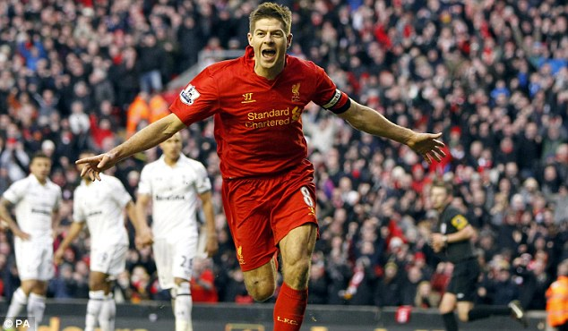 Perfect finish: Gerrard, celebrating against Tottenham, wants Liverpool to push on for a top-four finish