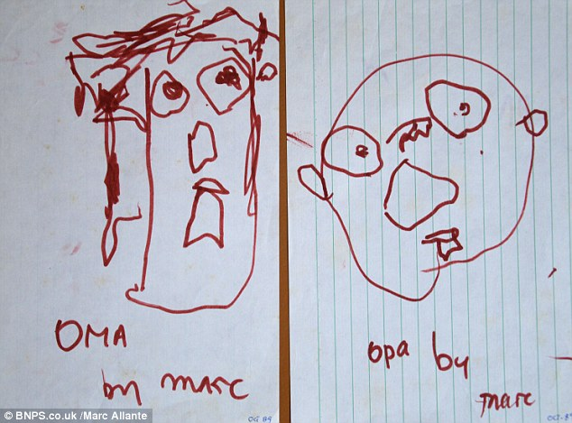 Starting early: Marc Allante has documented his progression as an artist in a  timeline of his work from age two through to adulthood. These drawings were taken when he was two