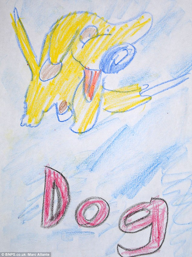 Colourful: This image of a dog was created when the budding artist was 8
