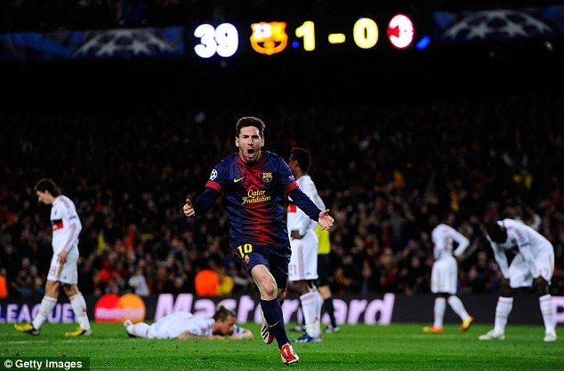 You got me rocking: Lionel Messi celebrates after turning the tie on its head