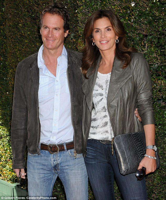 Happily remarried: Cindy tied the knot for a second time in 1999 with businessman Rande Gerber, pictured together on the weekend. The pair have two children - Presley, 13, and Kaia, 11