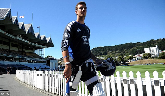 First Test hero: Steven Finn strides out for batting practice