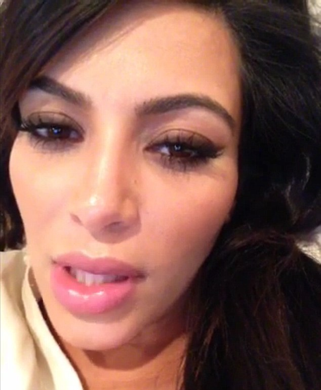 Plumped up: Kim first sparked speculation about her pout back in March with this Keek video