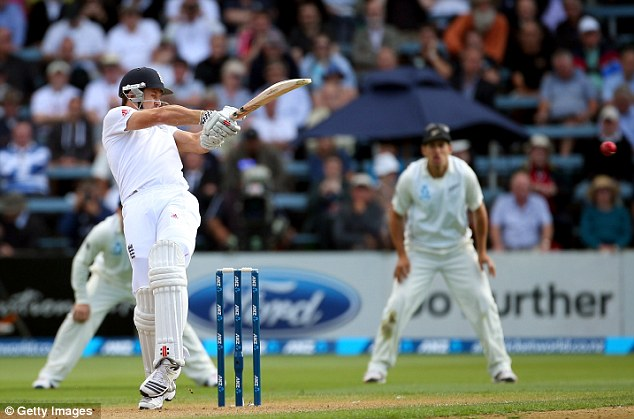 Crunch: England opening batsman Nick Compton pulls for four at the Basin Reserve