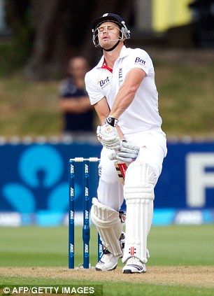 Careful! Nick Compton reacts after missing a shot on the first morning in Wellington