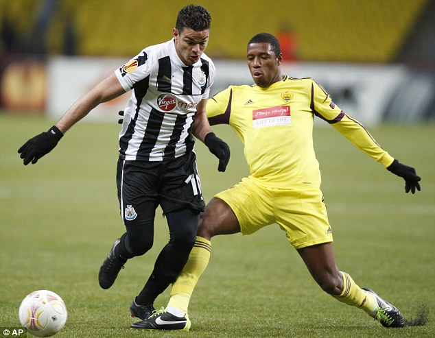 Out of action: Ben Arfa (left), pictured in the first leg, will see a specialist over his injury