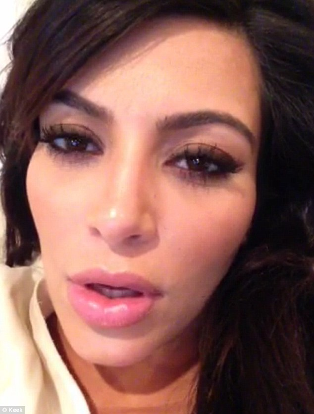 About those lips: Kim had fans wondering about her plump lips after she had posted an earlier video of herself looking sleepy