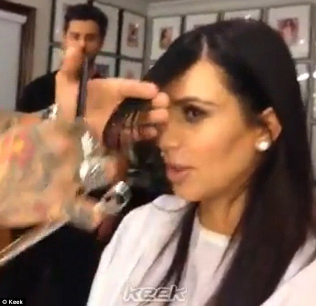 The chop: Kim posted a Keek video on her Twitter page of herself getting the chop