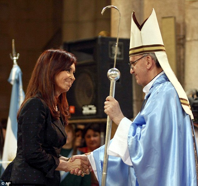 President Cristina Fernandez shakes hands with Jorge Bergoglio in Lujan, Argentina, when he was a cardinal