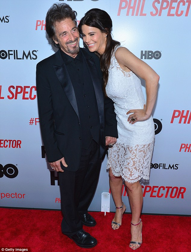 Reason to smile: Al Pacino showed off his much younger girlfriend Lucila Sola at the premiere of Phil Spector in New York on Wednesday