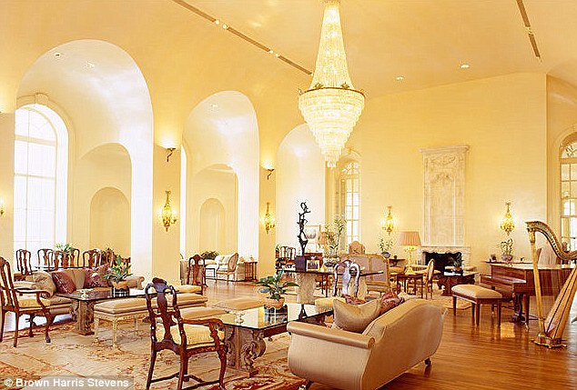 Luxury: The property is on the top three floors of The Pierre hotel with chandeliers in almost every room