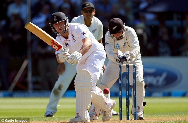 Watchful start: Jonathan Trott bats during day one at the Basin Reserve