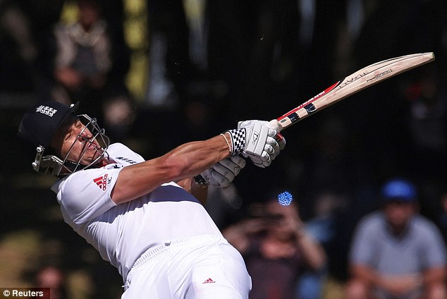 Eyes wide shut: England opener Nick Compton hits a boundary during the first day's play
