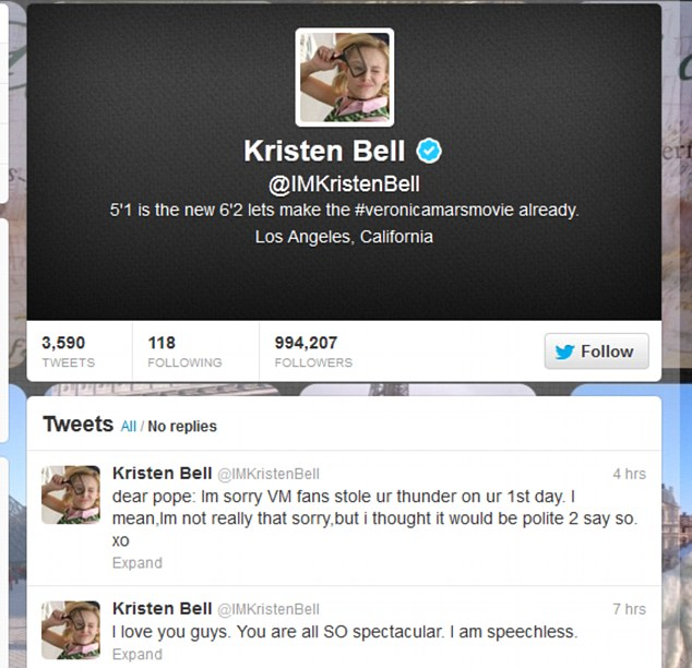 Excitement: Kristen thanked her fans via her Twitter page for helping the campaign reach its $2million target