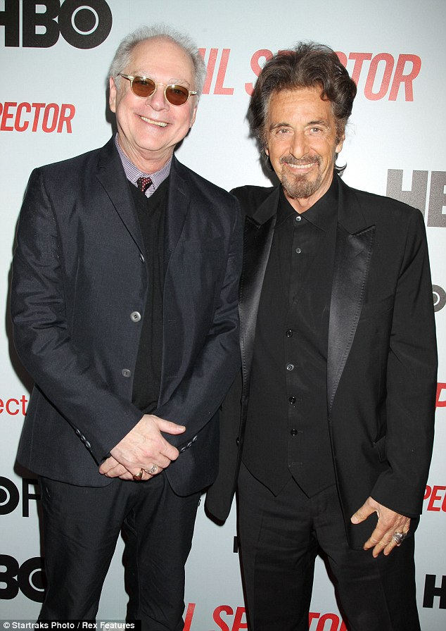Running the business: Al Pacino smiled as he stood with legendary director Barry Levinson