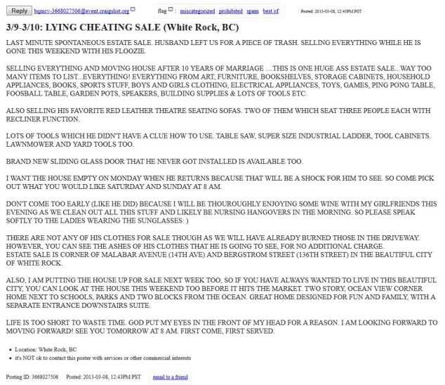 Woman Advertises Yard Sale On Craigslist To Sell Her