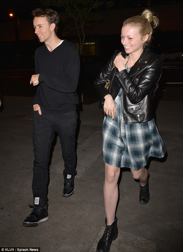 Feeling lucky: Francesca Eastwood drowned her slim figure in a checked dress as she went for dinner with Tyler Shields