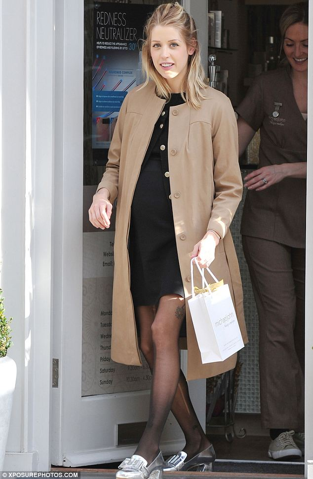 Treat time: Peaches Geldof was seen leaving a salon in London on Thursday after a spot of pampering