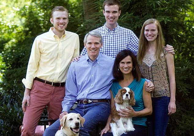 Supportive: Rob Portman, center with his wife, Jane. Has reversed his position on gay marriage after his son Will, 21, center came out. The family including brother Jed, 22, left, and sister, Sally, 18, are all supportive of the Yale student