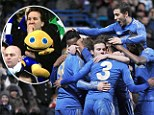 Zippy from Rainbow supporting Chelsea in Europa League match
