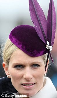 Zara chose a velvet Jane Taylor hat featuring Swarovski crystals for day one