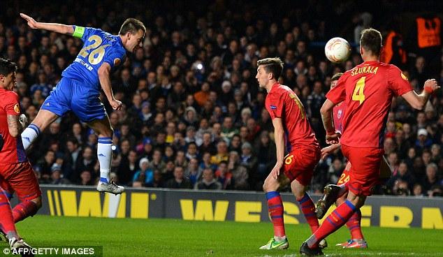 Captain marvel: John Terry scored a header in Chelsea's 3-1 win over Steaua Bucharest