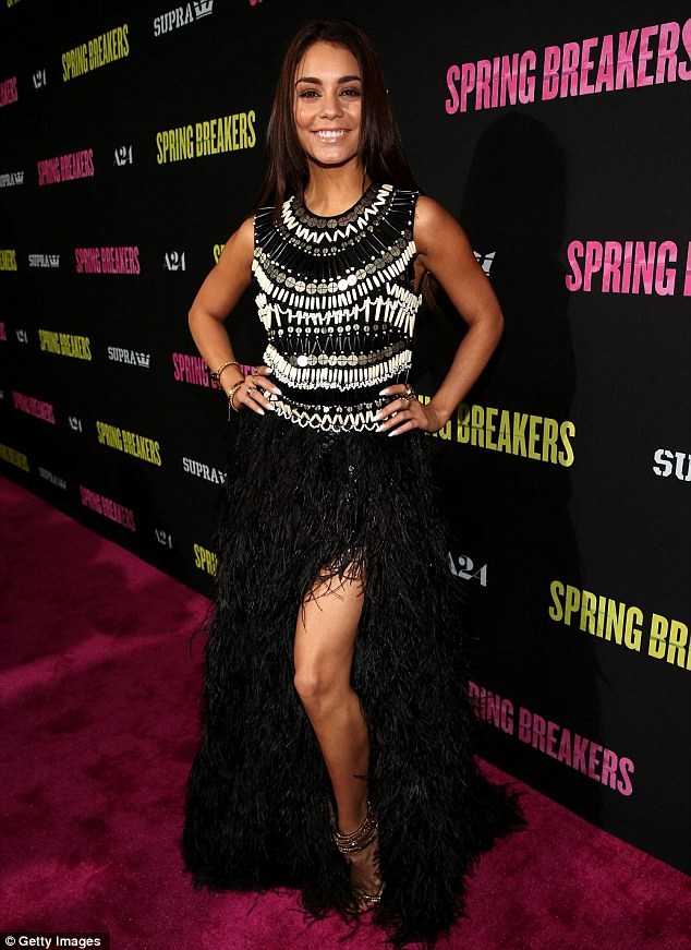 Toned and tanned: Vanessa Hudgens showed off her toned figure at the Spring Breakers premiere at ArcLight Cinemas last night
