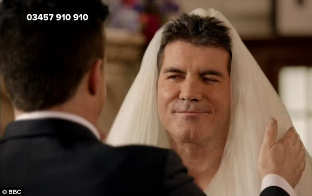 Who is good enough for Simon? Mr Cowell was seen marrying himself in a sketch for Comic Relief on Friday night