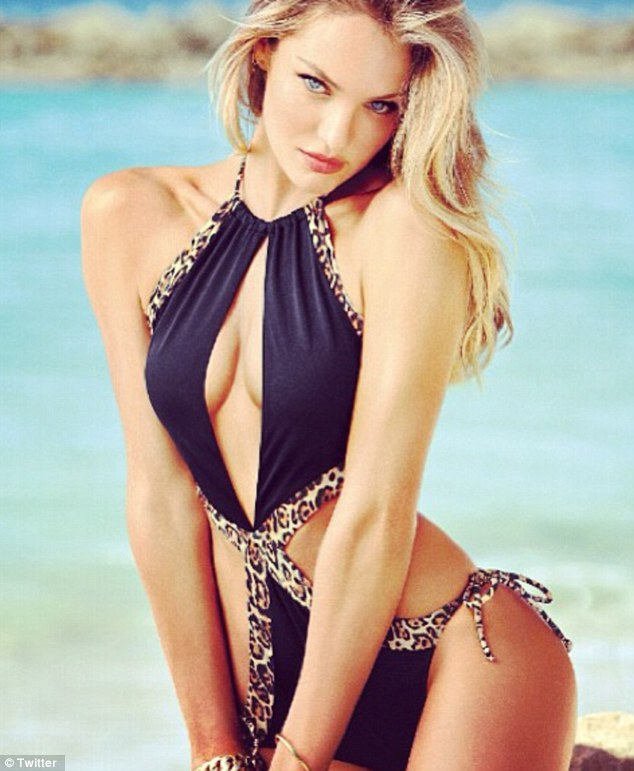 Wild thing: Candice also revealed new swimsuits from the Victoria's Secret new 'Swim' collection