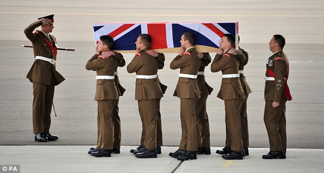 Tribute: The repatriation ceremony for Lance Corporal James Ashworth after he died in Afghanistan last June