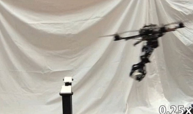Grabbed: An arm attached to the drone is able to lag behind the vehicle's centre-point, like an eagle's legs