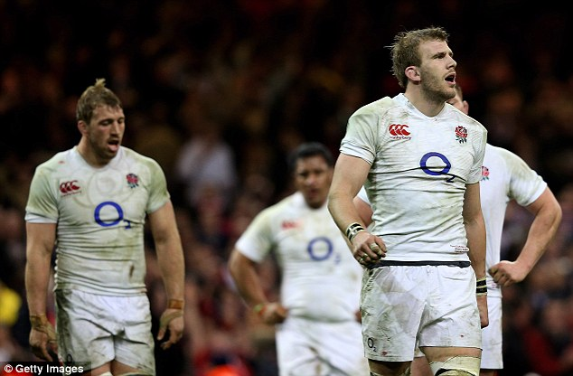 Dejection: Tom Wood and Geoff Parling (above) trudge forward after Cuthbert's second try, while Chris Robshaw and Tom Croft look rueful (below)